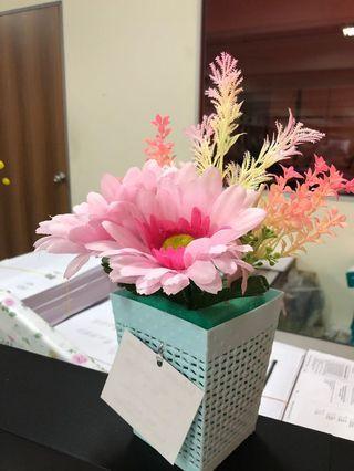 Bunga dan pasu Plastik