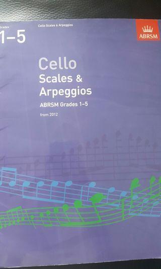 Cello Scales & Arpeggios ABRSM Grade 1 - 5