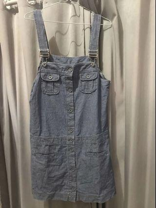 Overall jeans denim jumpsuit midi