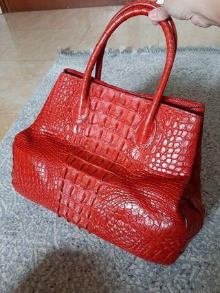 Red real croco tote