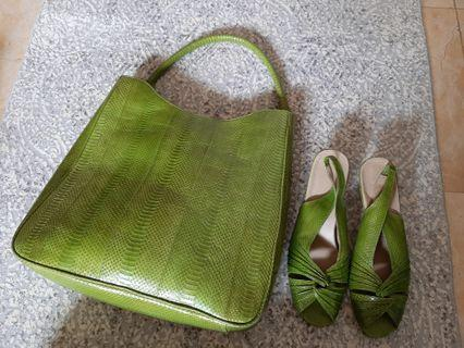 Lime real lizard and matching shoes sz 40