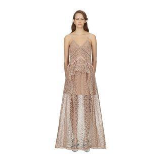 Self-portrait (RP $648) circle floral lace panelled maxi evening dress