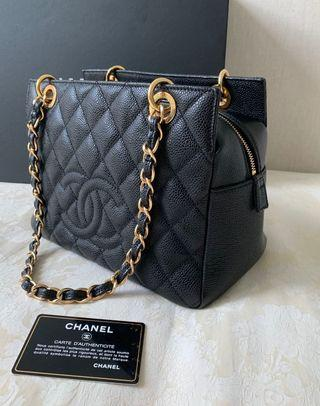 100% Authentic Chanel Petit Timeless Tote (PTT) Chain Bag, Black Caviar