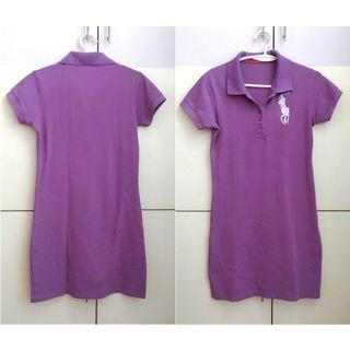 Lavender Polo Shirt Dress with Embroidered Logo