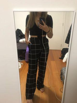Black and White Lined Pants