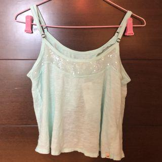 [83% OFF] Hollister mint green sequinned Top with open back detailing 薄荷綠露背吊帶衫 閃片