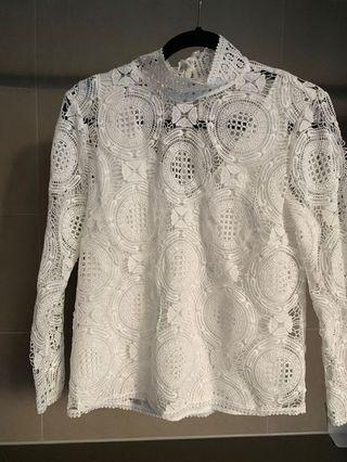 WITCHERY LACE LOOK LONG SLEEVE BLOUSE