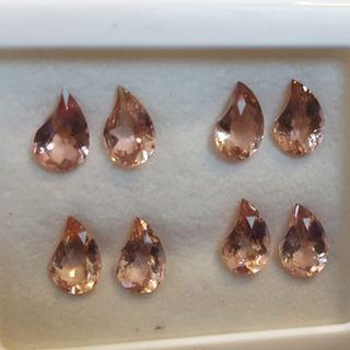 Natural Peach Pink Morganite Fancy Shaped Pair for a beautiful Ear Ring.