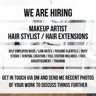 We are hiring Hairstylist, nail technician and eyelash extension master