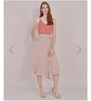 🚚 HVV Sachi Asymmetrical Midi Skirt - Pale Mauve