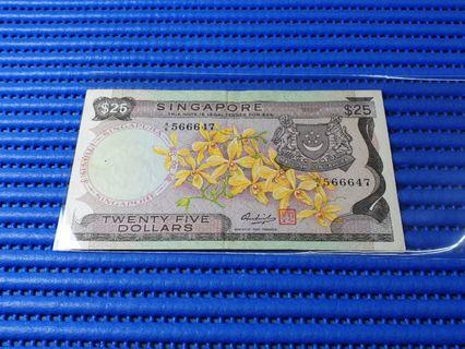 566647 Singapore Orchid Series $25 Note A/6 566647 Dollar Banknote Currency