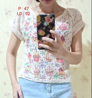 Blouse crop top peach