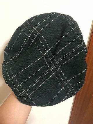 🚚 氣質綠格貝蕾帽