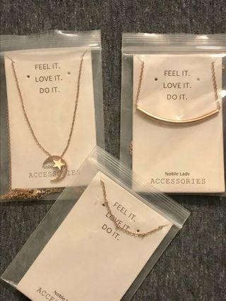 X3 18 K ROSE GOLD PLATED NECKLACES BUNDLE NOT SELLING SEPARATELY