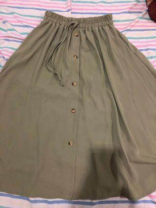 High Waist Midi A-Line Skirt