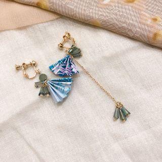 紙扇子日系耳環