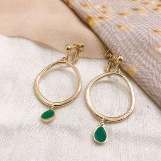🚚 簡約橢圓綠墜耳環