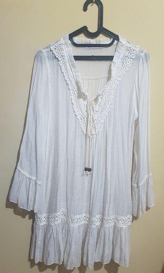 White Blouse/Mini Dress