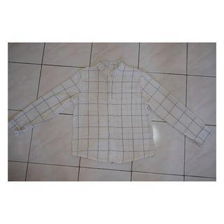 White checked long sleeve shirt for women