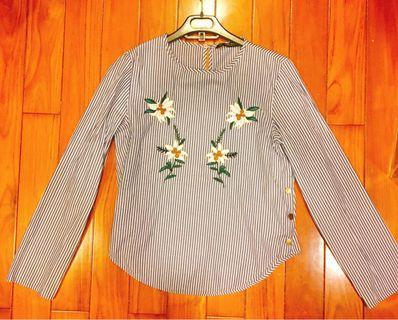 ZARA花朵刺繡條紋襯衫