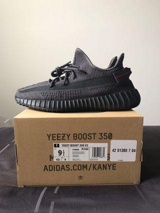 US9.5 Yeezy Boost 350 v2 Black Static NR