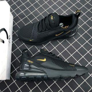 Nike Max 270 耐克新款 後跟半掌氣墊網面透氣慢跑鞋 黑金男 AH8050-007