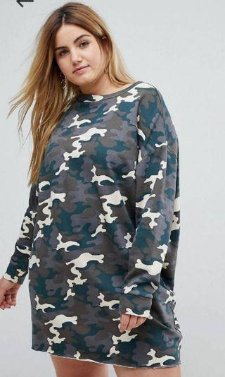 Plus size washed camo sweat dress UK 20