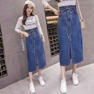 🚚 韓版單排扣繫帶牛仔裙