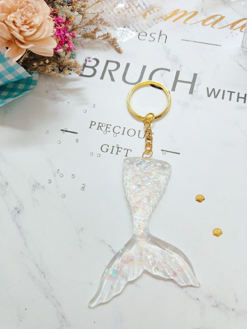 超美人魚鑰匙圈 美人魚 海洋風 唯美 透明貝殼粉 手作 水晶膠 閨蜜 情侶 生日禮物 鑰匙圈 吊飾 飾品