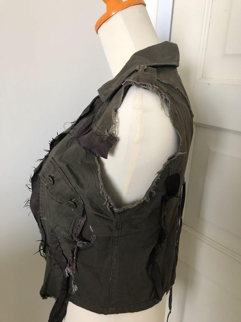 Army Destroyed Ruffle Vest