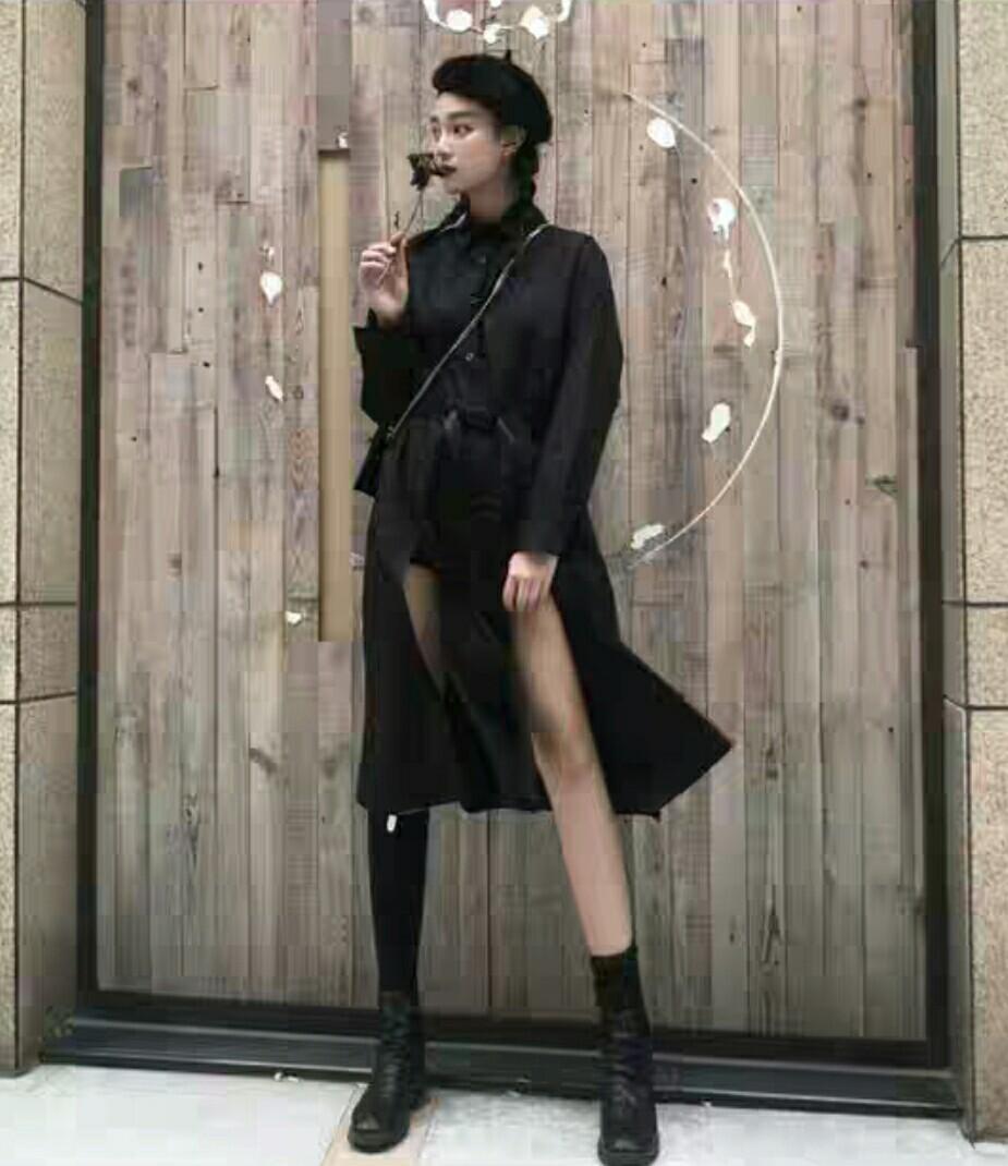 Black Shirt Dress with buckle belt garter harness blavkpink