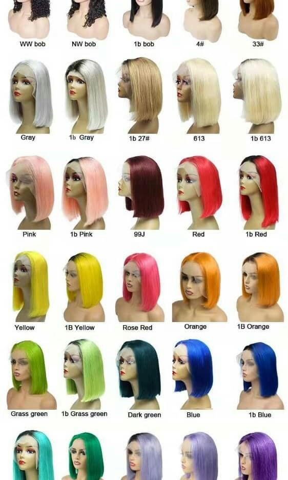 Colored human hair wig