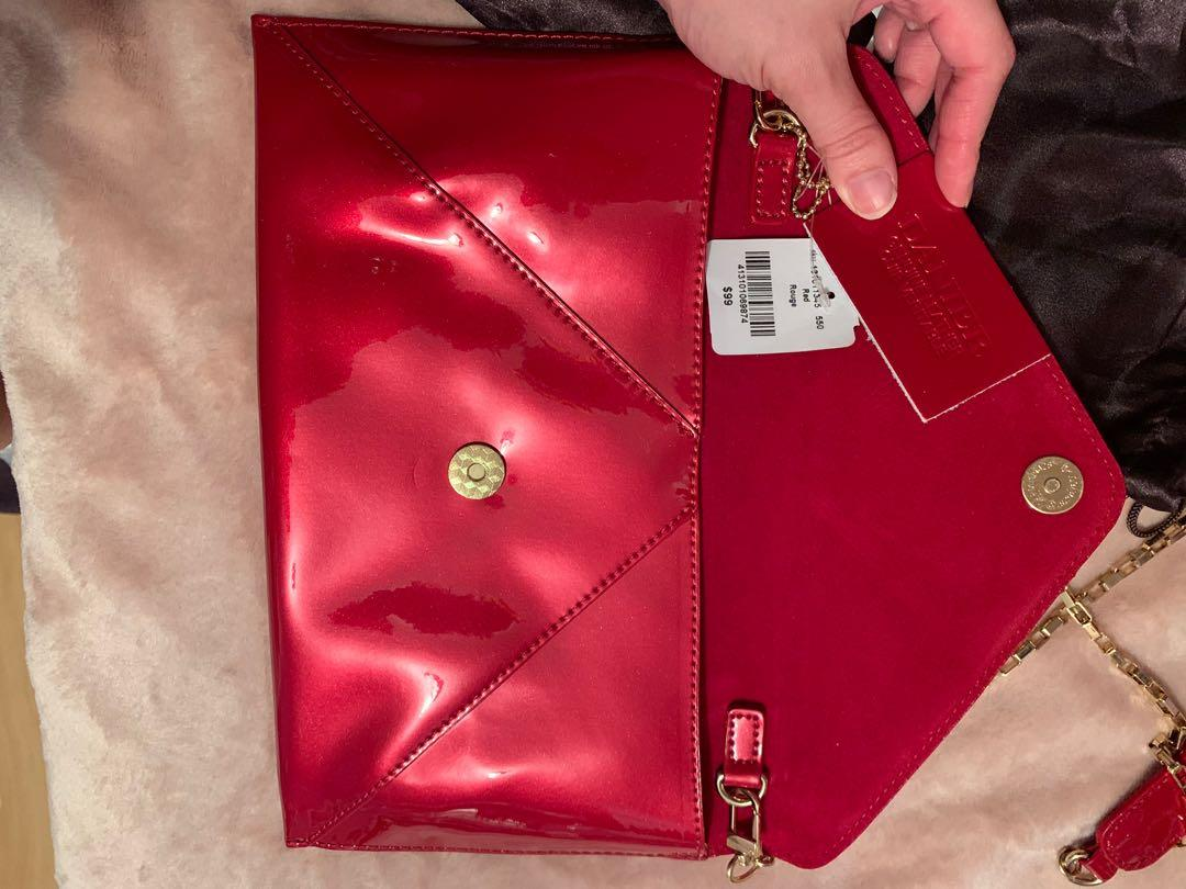 Brand New Danier Leather Crossbody Envelope Purse With Chain Strap