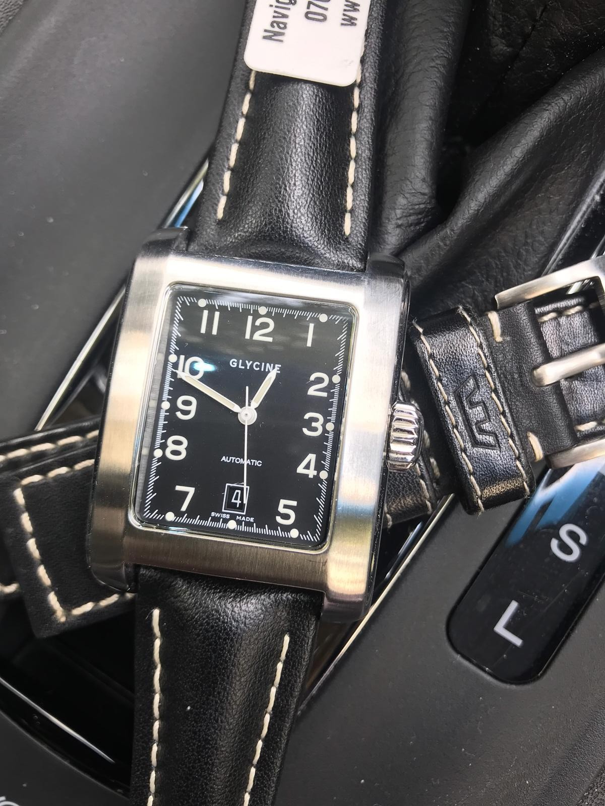 Update Glycine Grand Carre Swiss Automatic Dress Watch W Hirsh Leather Strap