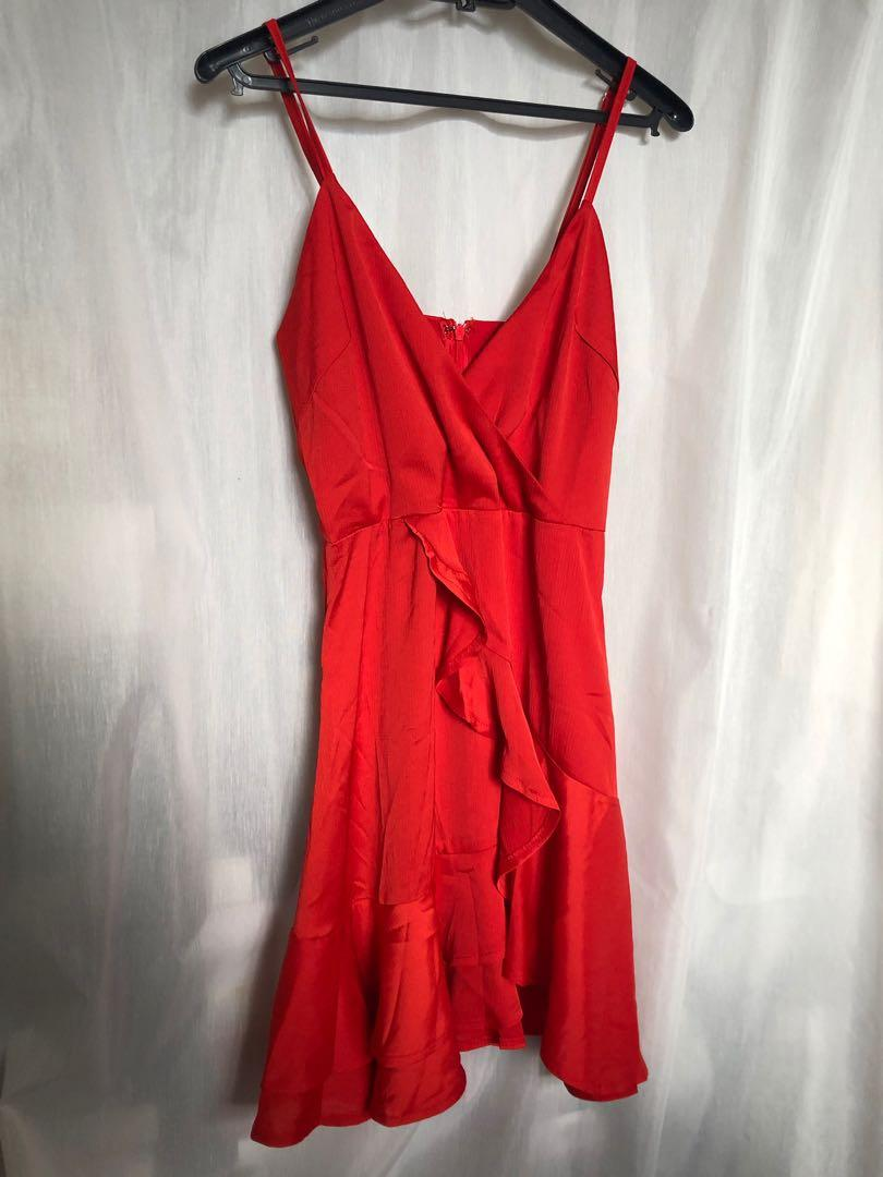 Here Comes The Sun Red Silky Dress - Tigermist Brand