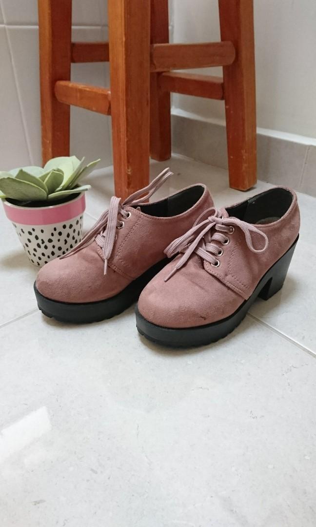 Japan dusty pink mauve platform lace up ankle boots size AU 5