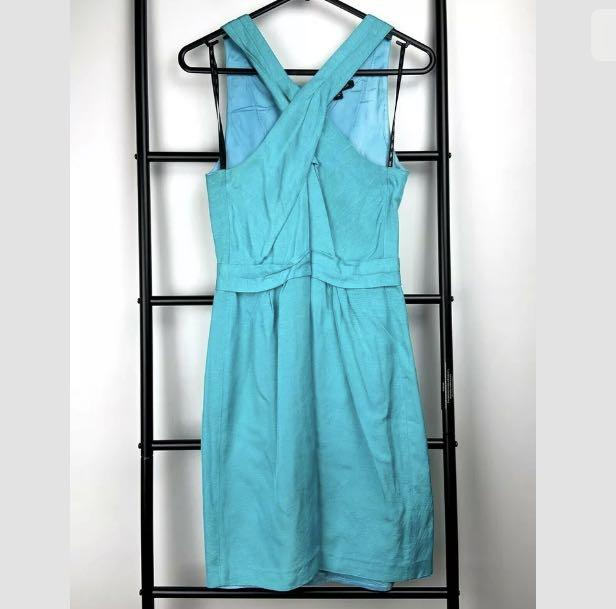 Saba sz 8 bright blue aqua cross neck dress party smart casual work designer