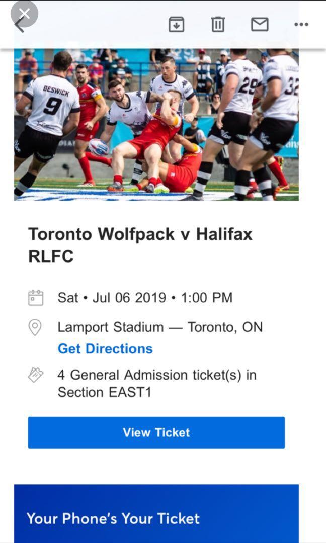 Saturday (Jul 6) Rugby Game (Toronto) - Four Tickets