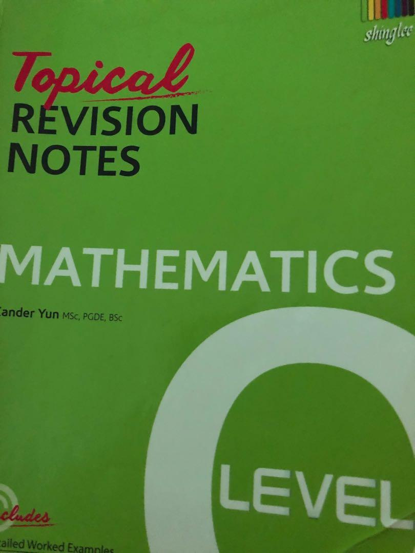 Shinglee N/O Levels Mathematics Topical Revision guide+ workbook