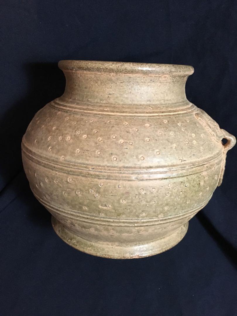 Song era Yeh kiln 10 inches high jar in ceralon glaze   古