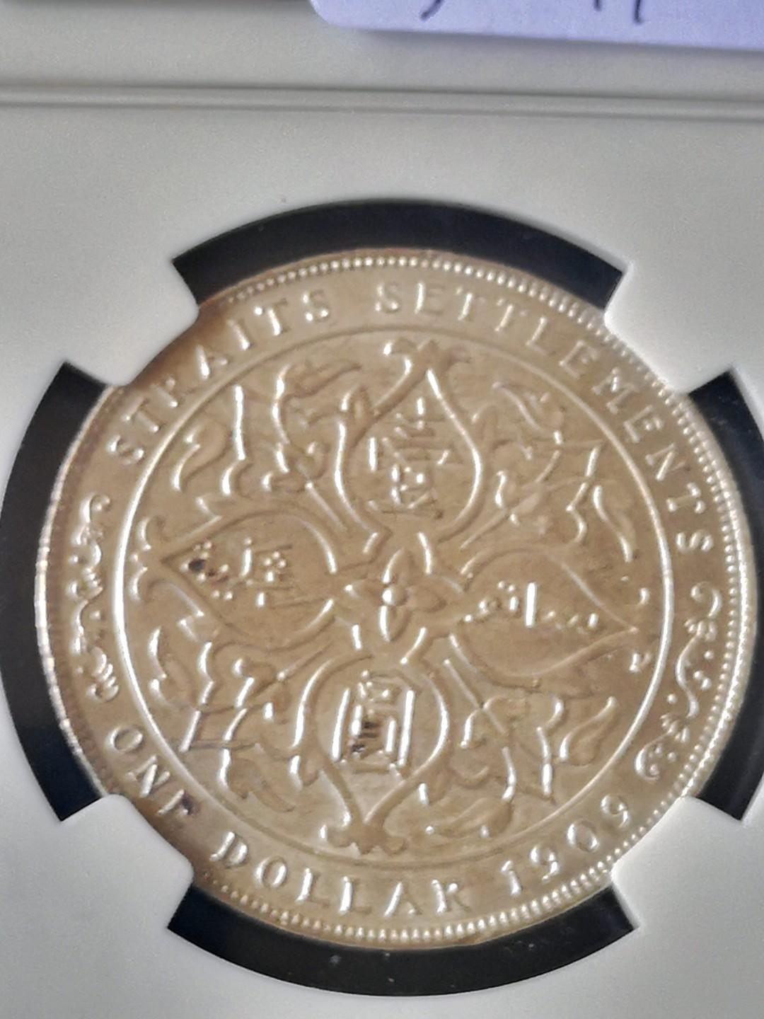 Straits settlement $1, the scarce date 1909 NGC graded MS 63 nice rare
