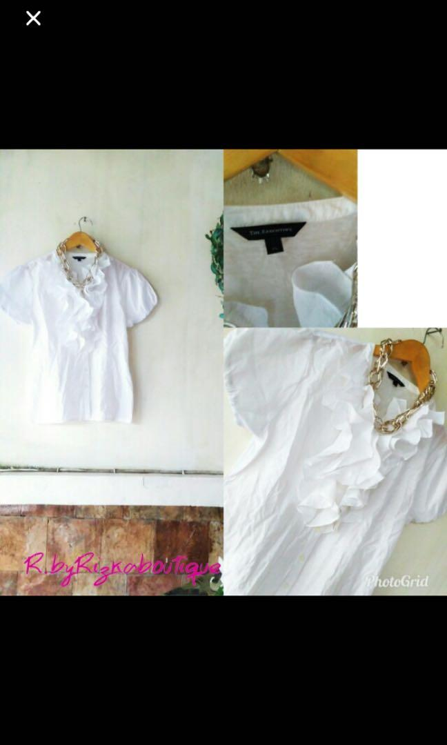 The Executive white ruffle blouse Atasan Kerja putih