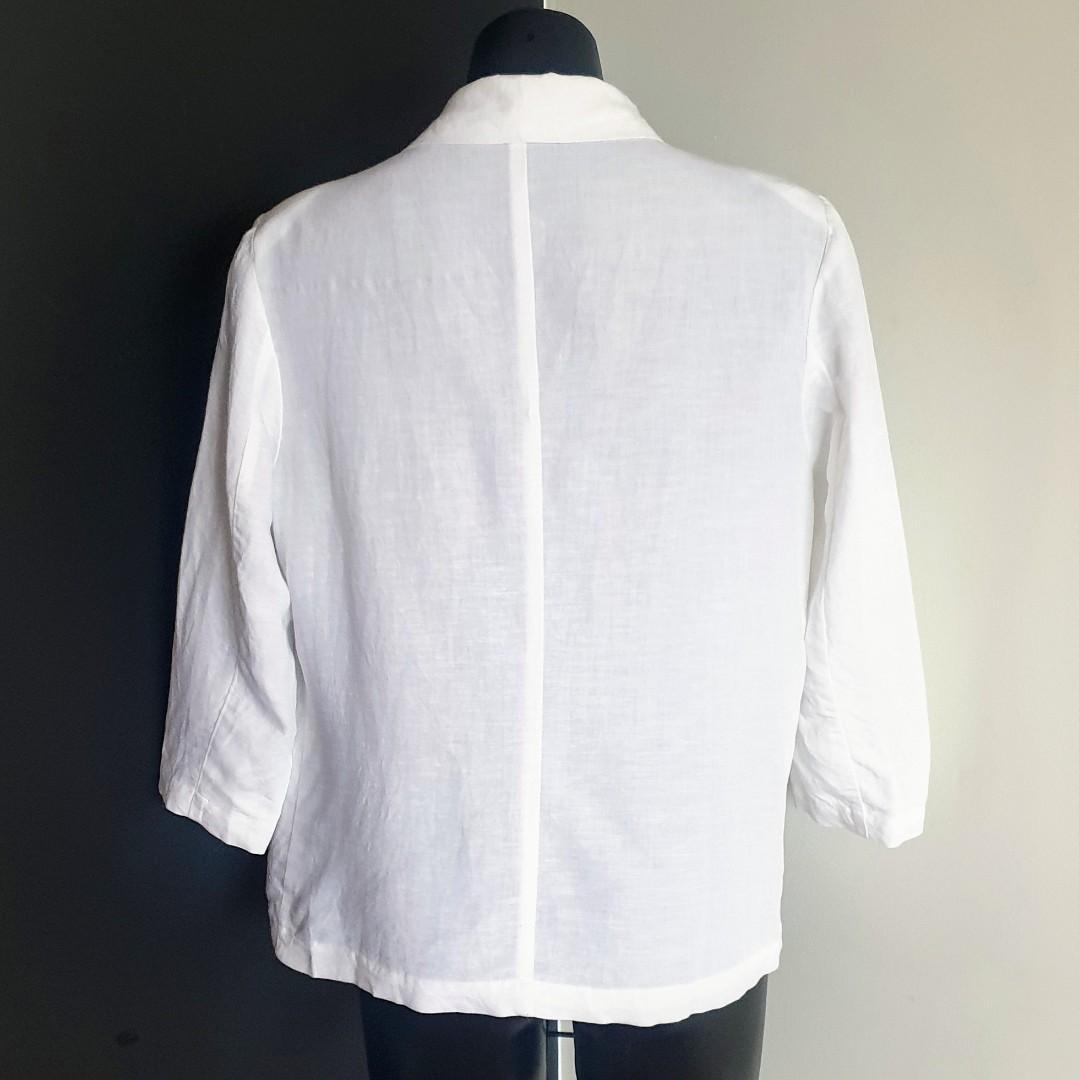 Women's size 16 'SUZANNE GRAE' Stunning white linen jacket blazer - AS NEW
