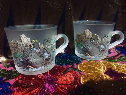 GERMAN STORYBOOK RARE COLLECTIBLE CUPS ⚜️ Authentic Grimms Märchen Hänsel und Gretel Illustrated Colored Art Nouveau Frosted Glass DUO (2pc SET)