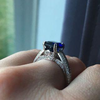 Sapphire Blue Sterling Silver Ring