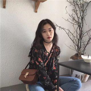 韩国学院风V领系带复古碎花半透视雪纺衫女春夏学生短款防晒上衣