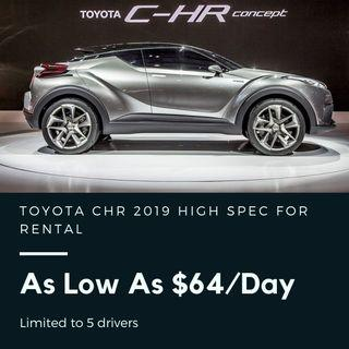 Toyota CHR Hybrid 2019 Brand New High Spec As Low As $64/day