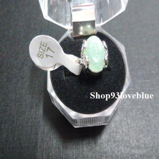 (大特價$55)天然東陵玉戒指 : 戒面約1.1cm,長1.3cm指圈17號。  (請留意折扣優惠)