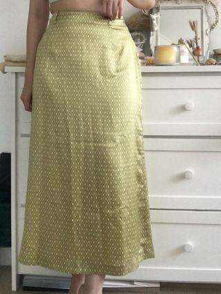 Retro print satin maxi skirt