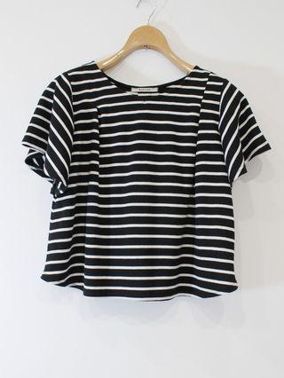 【百米二手衣櫥】Rapiche韓國小店條紋傘狀短袖上衣